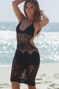 Passion Flower Black Backless Crochet Midi Dress Cover Up image