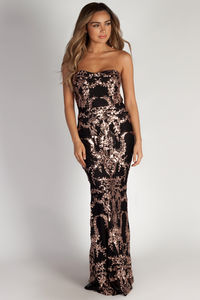 """""""Mad Love"""" Black & Rose Gold Sequin Evening Gown image"""