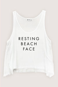 Resting Beach Face Crop Tank image