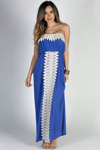 """Daydreamer"" Blue Strapless Maxi Dress with Crochet Lace Trim image"