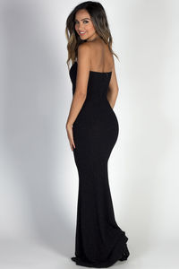 """Wish Come True"" Black Glitter Strapless Plunging Sweetheart Maxi Gown image"
