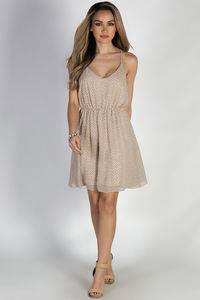 """""""Give Me Butterflies"""" Taupe Strappy Chiffon Print Dress image"""