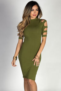 """Rosalind"" Olive Ladder Cut Out Mock Neck Bodycon Dress image"