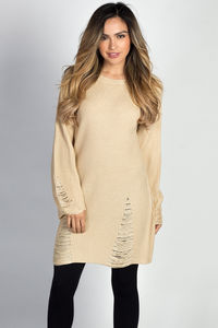 """Shannon"" Beige Distressed Cozy Sweater Tunic Dress image"