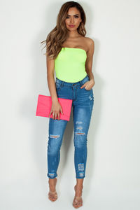 Neon Pink Asymmetrical Envelope Clutch image