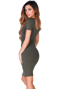 """Prue"" Olive Green Short Sleeve Jersey Bodycon Casual Dress image"