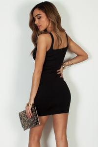 """Always On Time"" Black Layered Square Neck Mini Dress image"