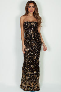 """""""Vivacious Vibes"""" Black & Gold Sequined Maxi Gown image"""