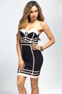 """Dakota"" Black & Blush Bustier Cocktail Dress image"