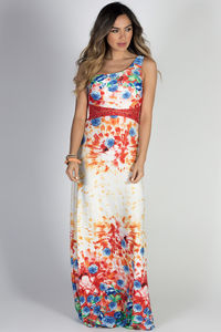 """Glam Getaway"" Red Floral Print & Jeweled Lace One Shoulder Maxi Dress image"