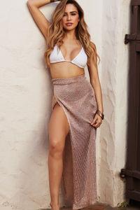 La Tertulia Rose Gold Metallic Cover Up Skirt image