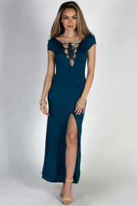 """Wait For It"" Deep Teal Short Sleeve Lace Up V Neck Maxi Dress image"