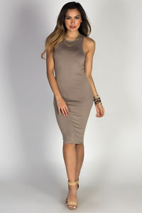 Taupe Jersey Bodycon Tank Midi Dress image