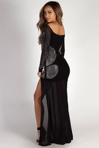 """""""A Night To Remember"""" Black Rhinestone Long Sleeve Maxi Gown image"""