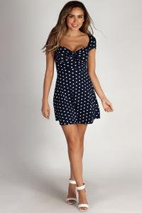 """""""Better Now"""" Navy Polka Dot Skater Dress image"""