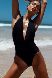 Liz Black Deep V Halter One Piece Swimsuit image