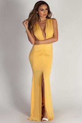 """Deep End"" Mustard Plunging V-Neck Ruched Maxi Dress image"