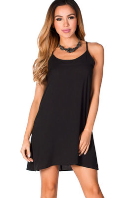 """Adelaide"" Black Flowy Spaghetti Strap Halter Trapeze Dress image"