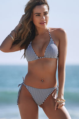 Navy Stripes Print Triangle Bikini Top image