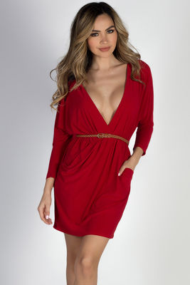 """""""Brooke"""" Red Faux Wrap Dress with Sleeves image"""