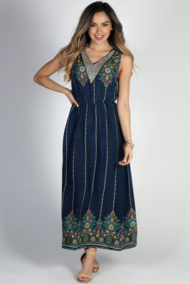 """Break Free"" Navy Floral Rhinstone Collar Glam Boho Maxi Dress image"