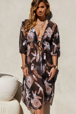 Black Floral Beach Cover Up w/ Drawstring Waist image