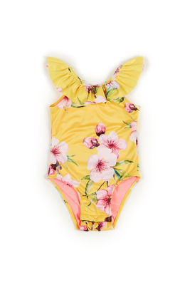 Cleo Yellow Cherry Blossom Print Baby/Toddler One Piece Swimsuit image