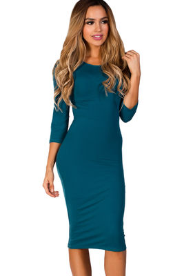 """Margo"" Teal Blue 3/4 Sleeve Jersey Bodycon Midi Dress image"