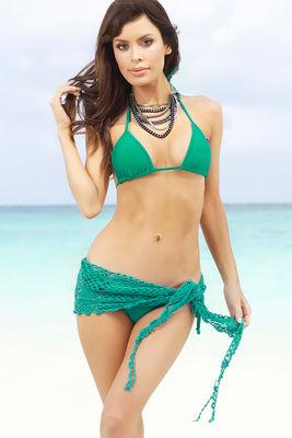 Cuba Libre Emerald Green Mini Crochet Sexy Sarong Beach Cover Up image