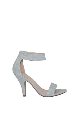 """Real Love"" 4"" Silver Shimmer Velcro Ankle Strap Womens High Heel Sandal image"