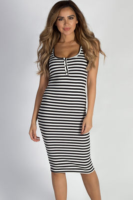 """Uninterrupted"" Black And White Striped Button Up Tank Dress image"