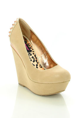 Nude 'Fanatic' Gold Detailing and Studded Spikes Wedge Shoes image