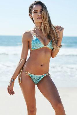 Amsterdam Gold & Aqua Fixed Triangle Sequin O-Ring Bikini Top image