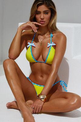 Neon Yellow & Aqua Polka Dot Micro Bikini Bottom image