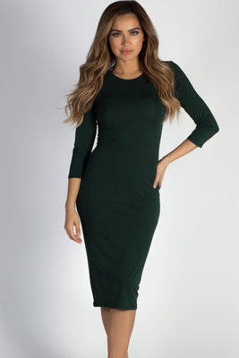 """All The Right Things"" Pine Tree Green 3/4 Sleeve Midi Dress image"