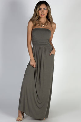 """California Sun"" Olive Strapless Tube Top Maxi Dress image"