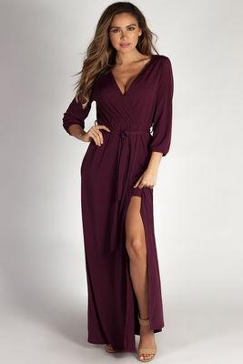 """""""Say Something"""" Plum Long Sleeve V-Neck Maxi Dress image"""