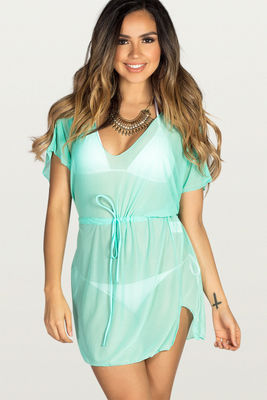 Afterparty Mint Mesh Hooded Cinch Waist Beach Cover Up image