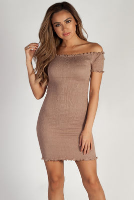 """""""Don't Mention Me"""" Taupe Off Shoulder Ruffled Dress image"""