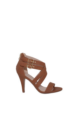"""""""Ambition"""" 4"""" Heel Tan Double Buckle Womens Strappy High Heels image"""