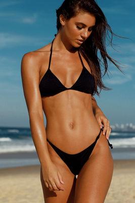 Black Fixed Triangle Bikini Top image