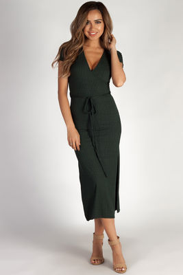 """Next To You"" Pine Green Ribbed Wrap Dress image"