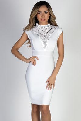 """""""Superstar"""" White Studded Bandage Dress image"""
