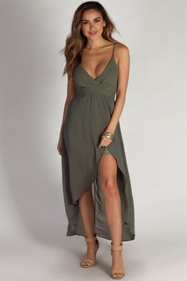 """Ain't Gotta Say Too Much"" Dark Sage Chiffon Midi Wrap Dress image"