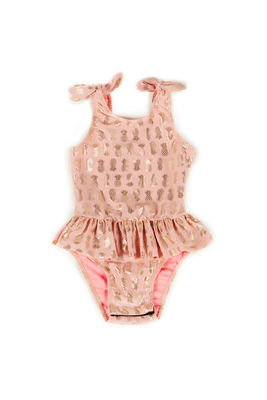 Bella Blush & Gold Pineapple Print Baby/Toddler One Piece Swimsuit image