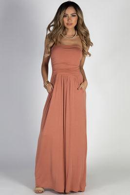 """California Sun"" Dusty Apricot Strapless Tube Top Maxi Dress image"