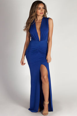 """Deep End"" Royal Blue Plunging V-Neck Ruched Maxi Dress image"
