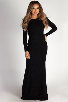 """""""Above it All"""" Black Shimmer Long Sleeve Maxi Dress image"""