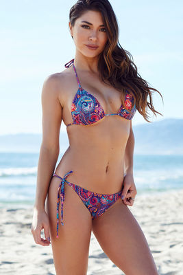 Surfside Purple Paisley Print Triangle Bikini Top image