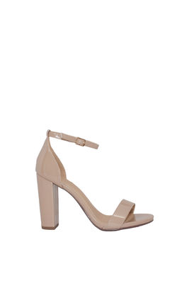 """On the Runway"" Beige Patent Open Toe Chunky High Heels image"